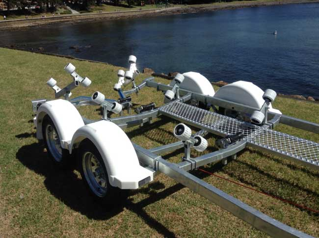 5.4M Rollered Boat Tandem Axle Trailer with NEW PLASTIC GUARDS