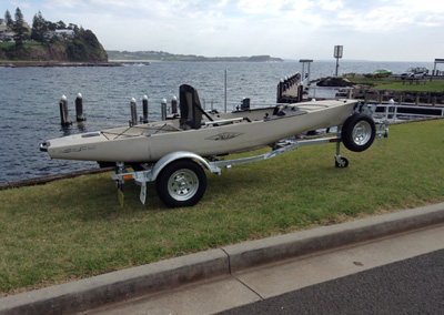 Rollered trailer for kayaks up to 3.75M